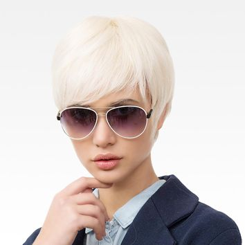 BLONDE UNICORN 6 Inch Short Straight Hair Wig for Women Light Blonde Multi Layered Fluffy Short Texture Pixie Cut Wig with Bangs