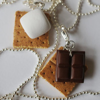 Smore Best Friend Necklaces, MIniature Food Jewelry, Polymer Clay Food Friendship Necklaces
