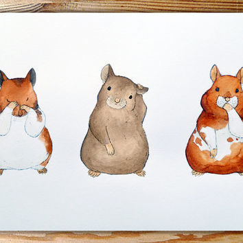 See No Evil, Hear No Evil, Speak No Evil Hamsters. A3 Syrian Hamster Painting, Original Watercolour Art