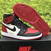 Air Jordan 1 Retro AJ1 Bred Toe Basketball Shoes US8-13