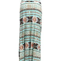 LeggingsQueen Women's High Waisted Poly Spandex Printed Maxi Skirt (AZTEC PRINT-MINT, Small)