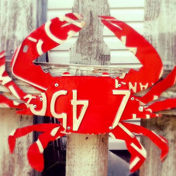 Upcycled Vintage Red License Plate Crab