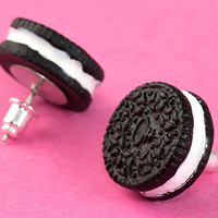 Oreo Cookie Ear Posts  Kawaii Stud Earrings by Tizzalicious