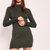 Missguided - High Neck Long Sleeve Ribbed Mini Dress Khaki