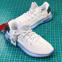 Off Whiet X Adidas Yeezy 350 V2 White Ice Blue Boost Sport Running Shoes - Best Online Sale