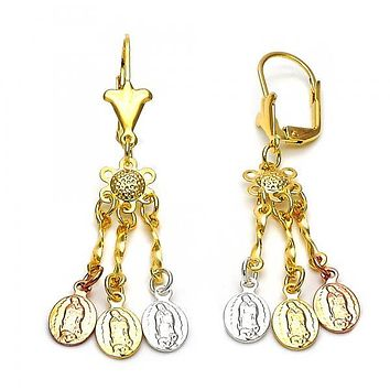 Gold Layered 02.63.2278 Chandelier Earring, Guadalupe Design, Polished Finish, Tri Tone