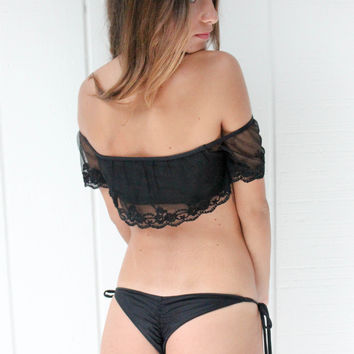 Solkissed Swimwear Cusco Barely Bottom in Black