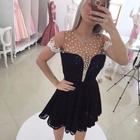 Short Sleeve Illusion Black Mini Homecoming Dresses 2017 Pearls Lace Sequins Mezuniyet Elbiseleri Sheer Back Party Gowns