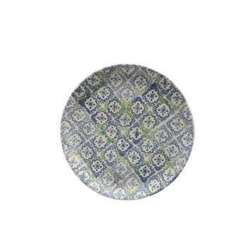 """French Countryside Decorative Blue and Green Cross and Flower Round Terracotta Dessert Plate 6.5"""""""