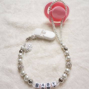 Personalised -Any name Customized Bling rhinestone pacifier clips soother chain holder Dummy clip Teethers clip for baby