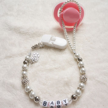 Personalised -Any name Customized Bling rhinestone pacifier clips/ soother chain holder Dummy clip/Teethers clip for baby