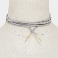 Long Gold & Grey Suede Tie Choker Necklace