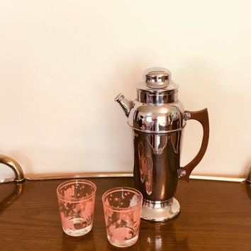 Art Deco Cocktail Shaker, Vintage Martini Shaker, Chrome Cocktail Shaker
