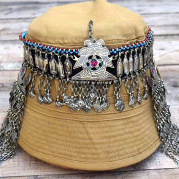 Afghan Kuchi Headdress,Uzbek Tribal Headpiece,Hair,Fish Head Piece,Wear,Belly Dance,Bohemian Ethnic Headwear,Headband,Gypsy Boho Headpiece