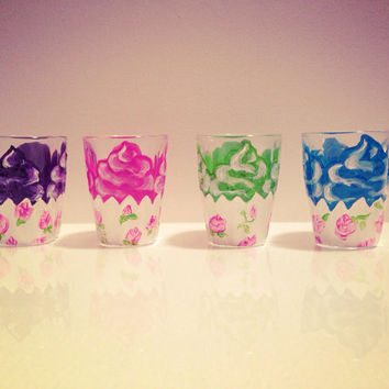 You pick 2 hand painted cupcake shot glasses by ArianaVictoriaRose