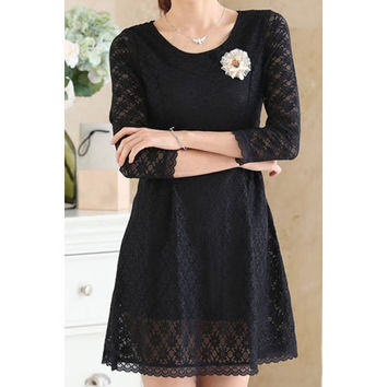 Elegant Scoop Neck 3/4 Sleeve Flower Embellished Women's Dress