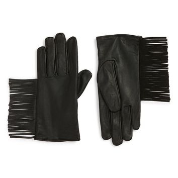 Maison Scotch Fringe Thinsulate® Insulated Leather Gloves | Nordstrom