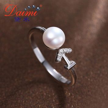 Silver Sagittarius Ring  Natural White Freshwater Pearl Ring Fine Constellation Ring For Women Silver Jewelry