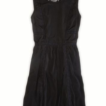AEO Women's Lacy Fit And Flare Dress (True Black)