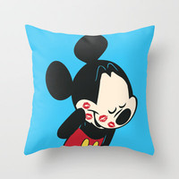 Mickey Smooch Throw Pillow by Budi Satria Kwan | Society6