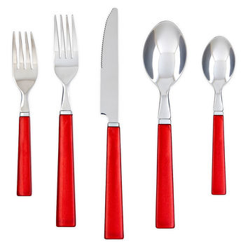 20-Pc Madrid Flatware Set, Red, Flatware Place Settings