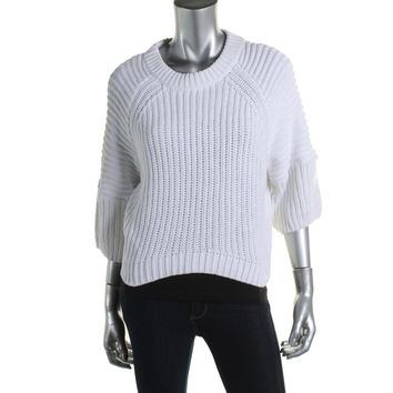 MICHAEL Michael Kors Womens Cable Knit 3/4 Sleeves Pullover Sweater