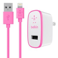 Belkin MIXIT Home Charger with Lightning Cable for iPhone 6S / 6S Plus, iPhone 6 / 6 Plus, iPhone 5 / 5S / 5c, iPad Pro, iPad 4th Gen, iPad Air 2, iPad Air, iPad mini 4, iPad mini 3, iPad mini 2 and iPad mini (2.1 Amp / 10 Watt), Pink