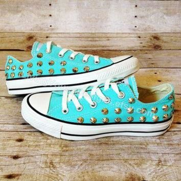 DCCKHD9 TIFFANY BLUE CONVERSE Studded Shoes Sale Custom Shoes All Star Chuck Mint Aqua Sky Blu