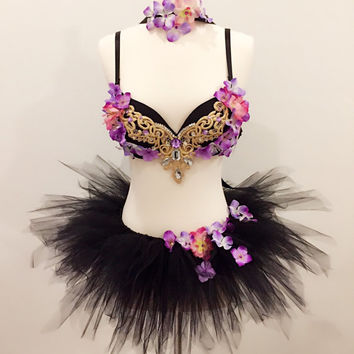 Black Floral Witch Costumes, Rave Bra and Outfits, Halloween Costumes