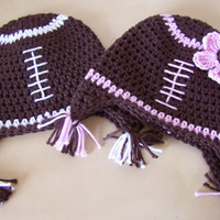 baby clothes, boy OR girl crochet football hat, toddler earflap hat