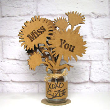 MISS YOU - Corrugated Cardboard Flowers Bouquet In Mini Mason Jar Great Gift Idea