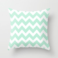 Chevron Mint Green & White Throw Pillow by Beautiful Homes
