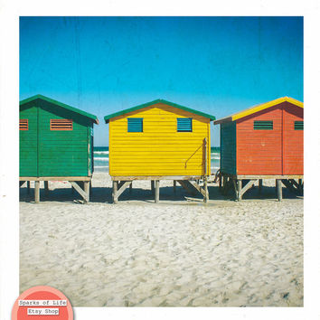 Square digital download, beach printable, surf shacks, travel photography, Cape Town South Africa, Muizenberg, colorful wall art, home decor
