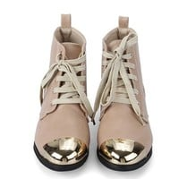 Gold-tone Metal Toecap Lace up Boots