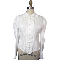 Early Edwardian Cotton Blouse With Tucks and Cutwork Embroidery