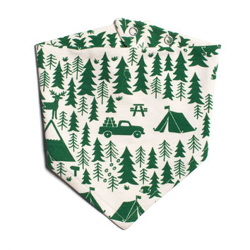 Green Campground Kerchief Bib by Winter Water Factory