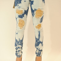 AO Acid wash gold spikes distressed jeans