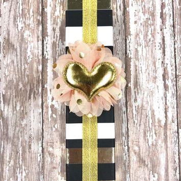 Gold Sparkly Planner Band with Puffy Gold Heart on Peach & Gold Flower