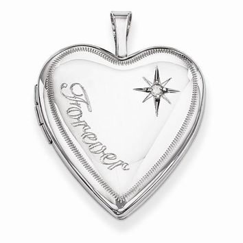 Sterling Silver 20mm Forever with Diamond Star Heart Locket