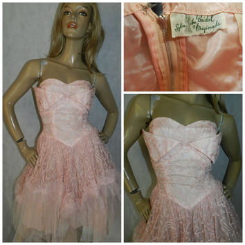 Vintage ORIGINAL 1950s BLUSH Pink lace net tulle prom wedding dress 8 50s CUPCAKE dress Wedding Wing bust Sylvia Ann Bridal Originals