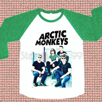 Arctic Monkeys T-Shirt Indie Rock T-Shirt Green Sleeve Tee Shirt Long Sleeve Tee Shirt Women TShirt Unisex TShirt Baseball TShirt Size S,M,L
