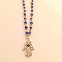 Hamsa Hand Beaded Necklace