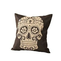 Cotton Linen Square Black with White Skull Pattern Sofa Simple Cushion Cover 18x18 Inches