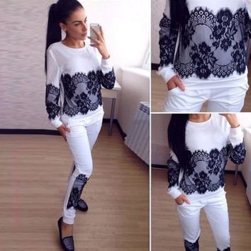 Composite solid color lace trousers sports suit sweater piece