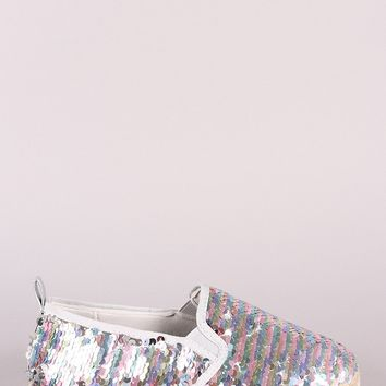 Bamboo Sequins Embellished Espadrille Trim Slip-On Flat