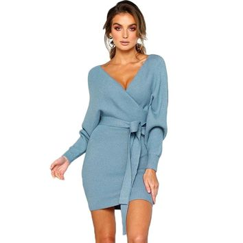 Sexy Lace Up V neck Backless Package Hip Autumn Winter Dress Women 2018 Long Sleeve Knitted Sweater Dress vestidos