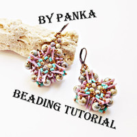 Beading earring tutorial. Beading pattern. How make to jewelry tutorial. Pdf file, pfd instruction. Beading instruction.