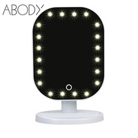 20 LED Light Beauty Makeup Mirror Fashion Rotatable Touch Screen Vanity Square Desk Stand Cosmetic Mirror Make Up Tools