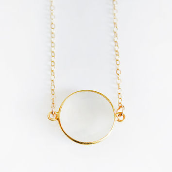 White Moonstone Coin Necklace