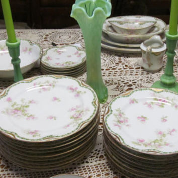 59 pc Haviland Limoges China Huge Set Apple Blossom Haviland Limoges Huge Set Limoges Schleiger Victorian Antique China Fine China Formal